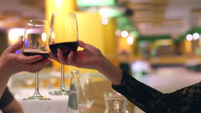 Red wine glasses cheers stock footage