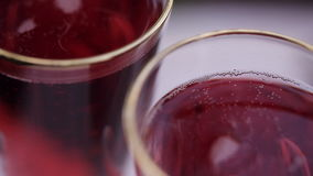 Red wine in glasses. close-up stock footage
