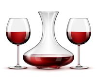 Red wine in glasses and decanter on white background. Red wine in glasses and decanter isolated on white background Royalty Free Stock Photography