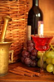 Red wine in glasses and grapes Royalty Free Stock Photo