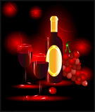 Red wine with glasses and grapes. On a red background Royalty Free Stock Images