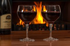 Red Wine, Glasses, Log Fire, Red