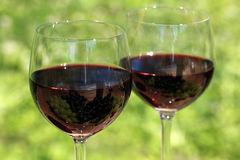 Red wine in glasses Stock Photo