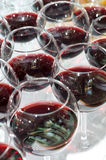 Red wine glasses, selective focus Stock Images