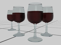 Red wine glasses on tiles - 3D Royalty Free Stock Photos