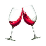 Red wine glasses. Toasting of two red wine clear glasses Stock Photo