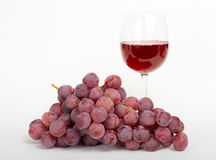 Red wine with grape. Stock Photos