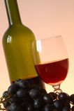 Red wine and grape. Bottle of red wine with wineglass Stock Photography