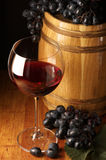 Red wine, grape and barrel Stock Photography