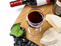 Red wine, grape, Brie and Camembert cheeses Stock Image