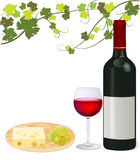 Red wine with grape and cheese Royalty Free Stock Photos