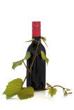 Red Wine and Grape Leaves Stock Photography