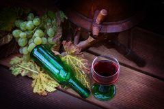 Red wine, grape leaves, grapes and bottle of wine Stock Photos