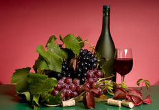 Red wine and grape still-life Stock Photo