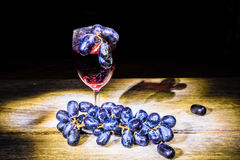 Red wine and grape Stock Images