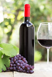 Red wine and grape. On the wood surface, outdoor Stock Photos