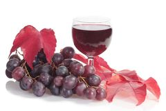 Red wine with grapes Royalty Free Stock Photography