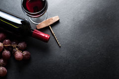 Red wine and grapes border Royalty Free Stock Photo