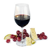 Red wine,grapes and cheese. Isolated on white background Royalty Free Stock Photo