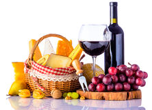 Red Wine, Grapes and Cheese Royalty Free Stock Images