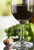 Red wine and grapes - closeup Royalty Free Stock Images