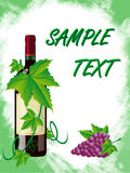 Red wine and grapes is in a green frame Royalty Free Stock Photography