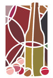Red Wine and Grapes. Stylised illustration of a bottle of red wine and grapes Royalty Free Stock Photo