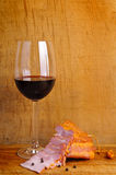 Red wine and ham Royalty Free Stock Images