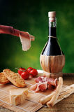 Red wine ham and cheese Royalty Free Stock Photos