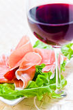 Red wine and ham Royalty Free Stock Photography