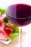 Red wine and ham Royalty Free Stock Image