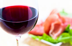 Red wine and ham Royalty Free Stock Photos