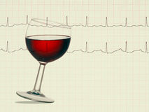 Red wine healthy heart - fact or myth. Real ECG detail background. Heart disease prevention etc Stock Images