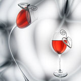 Red wine and heart decorations Stock Image