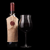 Red wine isolated on black Royalty Free Stock Photography