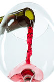The red wine jet. With glass and bottle close up stock photography