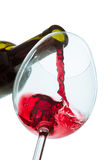 The red wine jet. With glass and bottle close up stock images