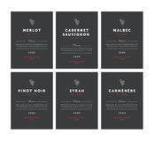 Red wine labels. Vector premium template set. Clean and modern design. Pinot Noir, Malbec, Cabernet Sauvignon, Merlot. Syrah, Carmenere Stock Photography