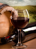 Still life with landscape. Red wine with landscape, still life stock photo