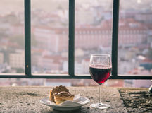 Red wine on a ledge Stock Photography