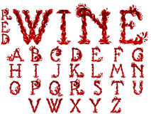 Red Wine letters set Royalty Free Stock Images