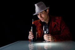 Red wine and man Royalty Free Stock Photography