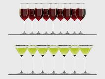 Red Wine and Martini glasses on the shelf Royalty Free Stock Photo