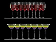 Red Wine and Martini glasses on the shelf isolated Royalty Free Stock Photos