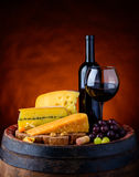 Red Wine, Morbier and Emmental Swiss Cheese royalty free stock photo