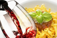 Red wine and noodles Royalty Free Stock Images