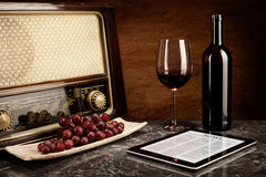 Red Wine, old and new Technology Royalty Free Stock Photography