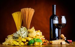 Red Wine and Pasta royalty free stock image