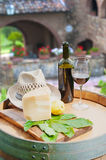 Red wine, pecorino cheese and pear, Italian snack. In the Tuscan countryside royalty free stock image