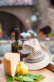 Red wine, pecorino cheese and pear on wood barrel Stock Images